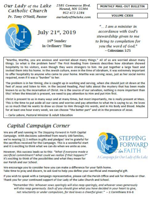 07.21.2019 Bulletin