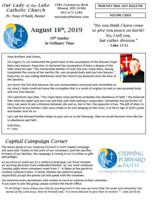 08.18.2019 Bulletin