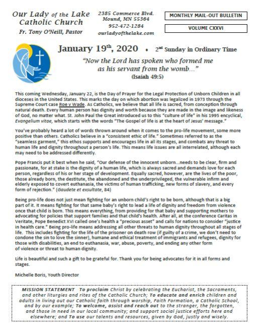 01.19.2020 Bulletin