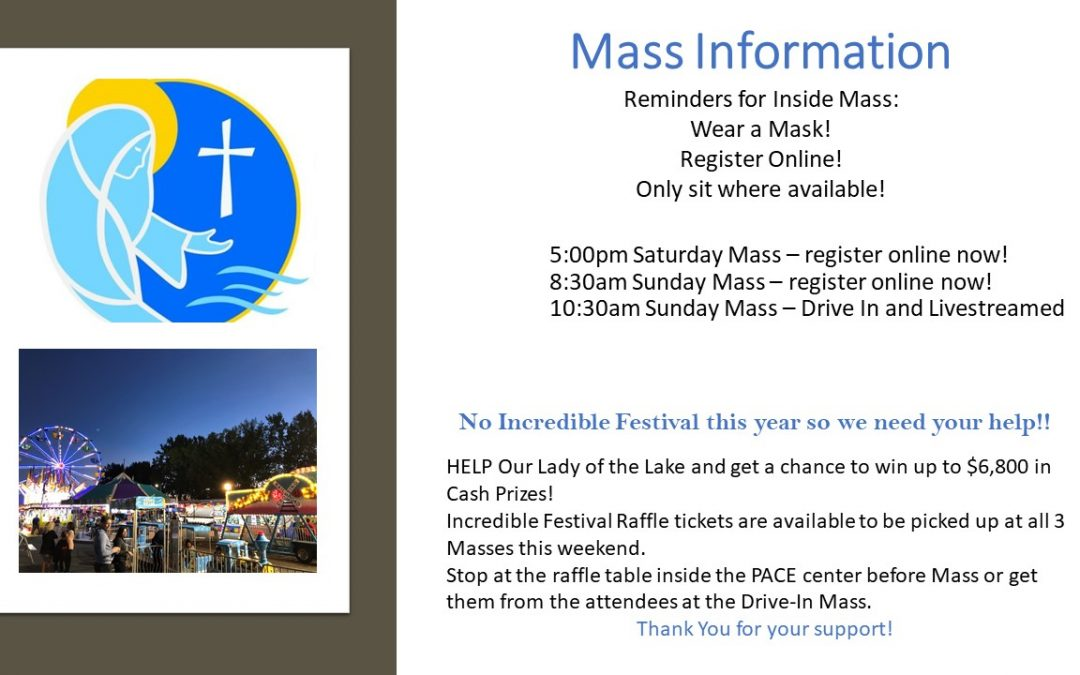 August 1st & 2nd Masses