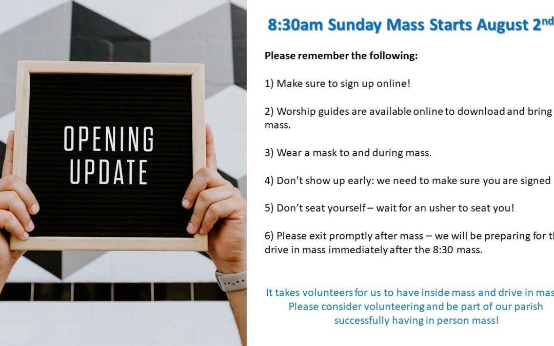 8:30am Sunday Mass Returns!