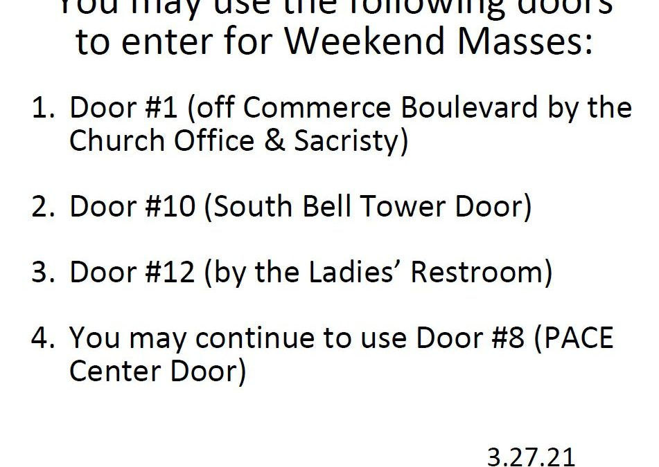 Additional Doors Open for Mass this Weekend
