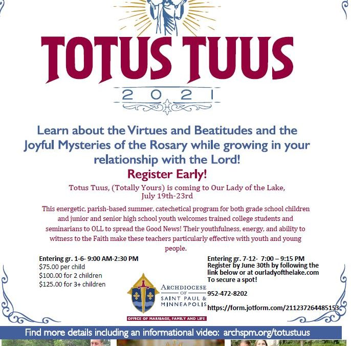 Register for VBS – Totus Tuus Today!